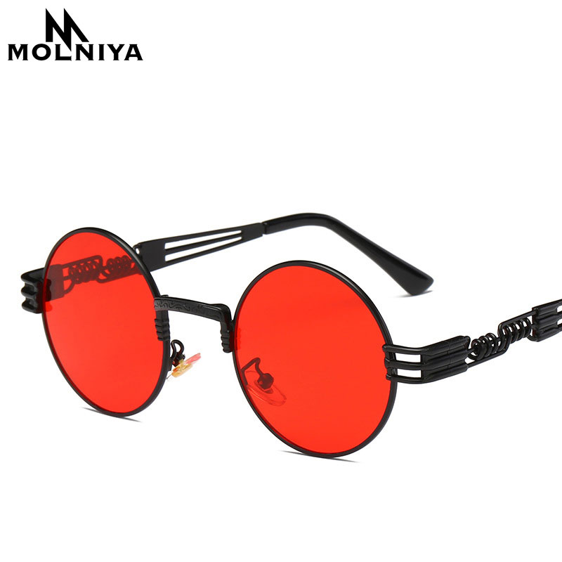Steampunk Sunglasses Luxury Men Round Sun glass Coating Glasses Metal Vintage Retro Lentes of Male 16 colors
