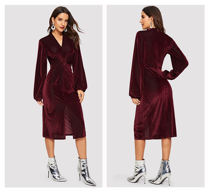 Burgundy Long Sleeve Velvet V-Neck Dress 1