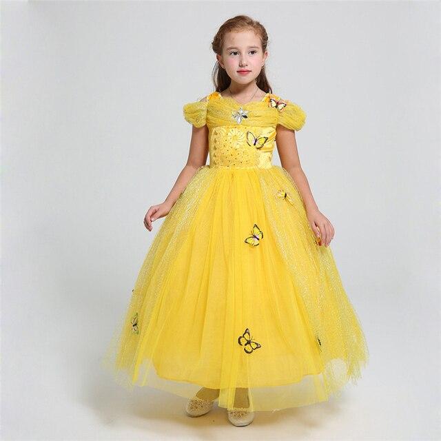 belle dress 2 12 yrs girls cinderella dresses girls butterfly clothing children halloween clothes teenage