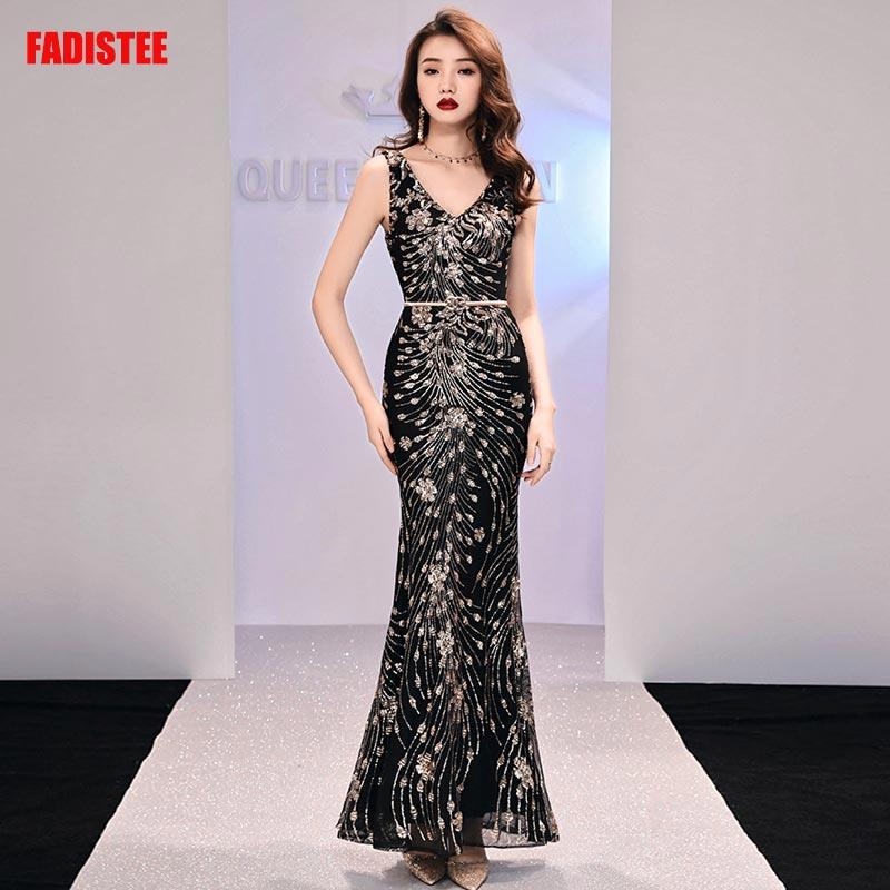FADISTEE New arrival elegant long   dress   prom party   dresses   formal   dress   sequin pattern   evening     dress   custom 2019