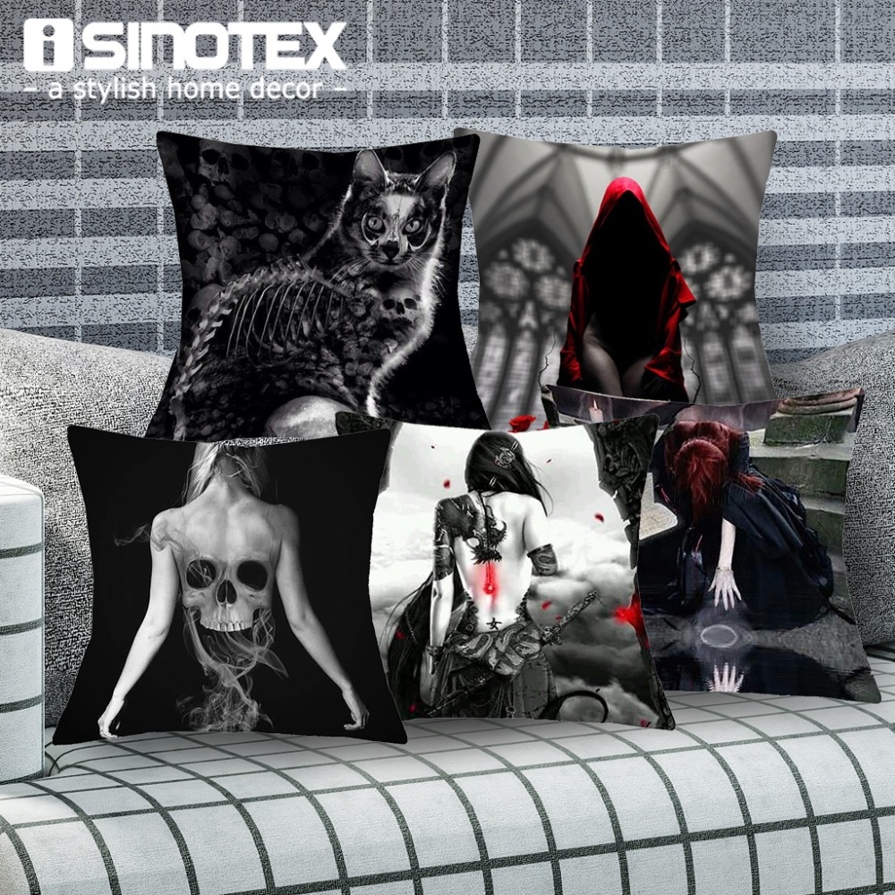 Gothic Style Dark Magic Linen Fabric Cushion Covers Female Printed Home Decorative Square Pillowcase 43x43 cm