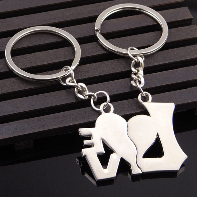 SUTEYI 1 Pair Couple Heart-shaped Keychain Keyring Keyfob  Daylover ring Valentine's Day romantic gift free shipping