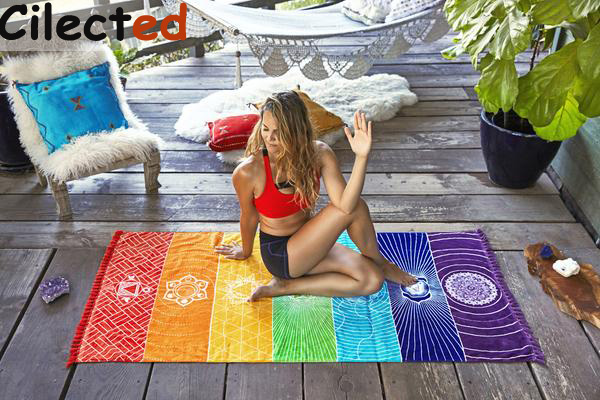 Cilected Hot Sale India Bohemia 7 Chakras Tapestry Mandala Stripes Rainbow Tapestry Blanket Throw Yoga Mat Beach Towel Drop Ship