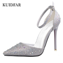 KUIDFAR New Fashion Sexy Women Silver Rhinestone Wedding Shoes Platform Pumps Red Bottom High Heels Crystal Shoes