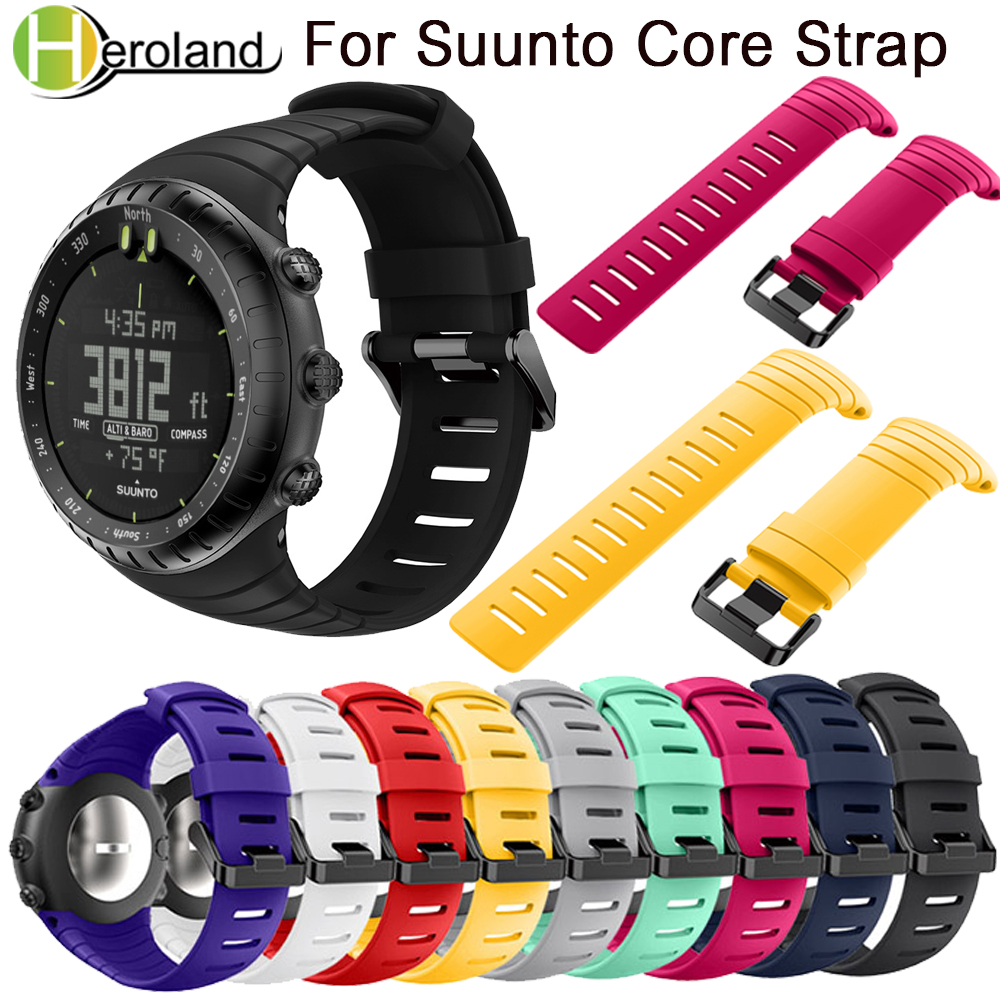 купить Sports Silicone watch strap For Suunto Core watchBand Smart watch strap Replacement TPU Wristband Accessories Bracelet watch men по цене 347.47 рублей