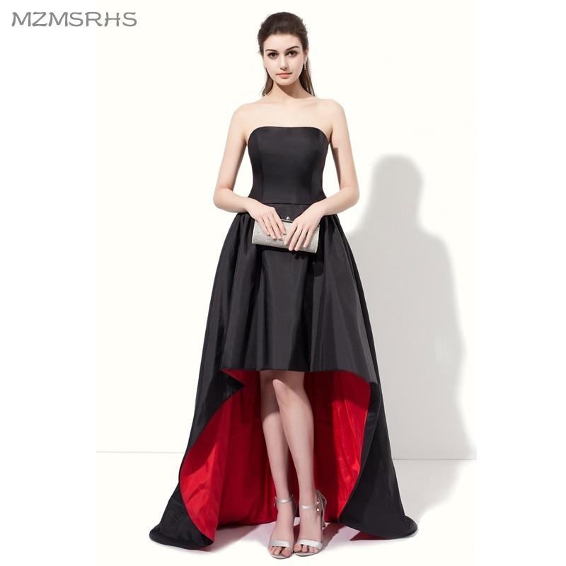 Elegant Strapless Black Red Prom Dresses 2017 High Back