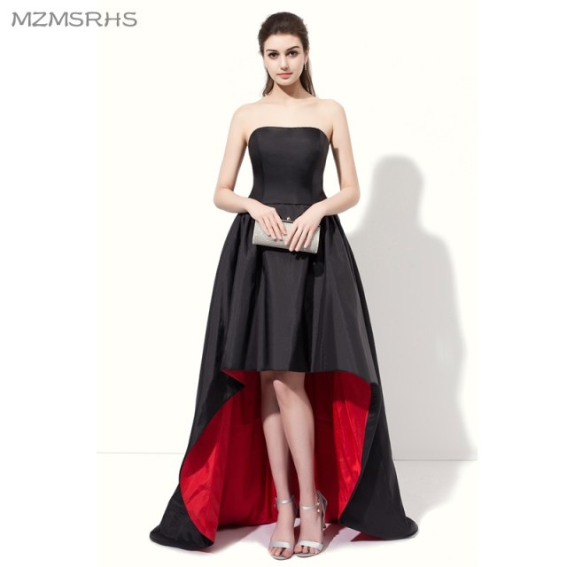 0286ce8e21 Elegant Strapless Black Red Prom Dresses 2017 High Back Low Front Satin A  Line Formal Evening Gown vestido de festa