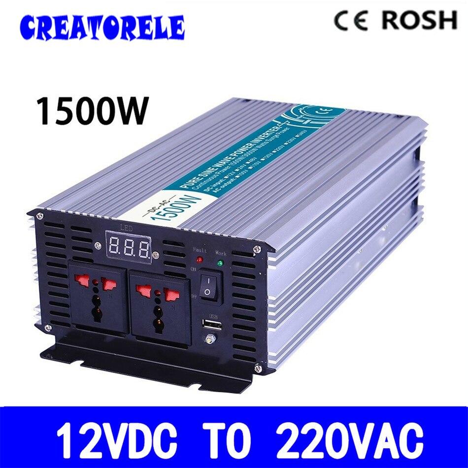 P1500-122 1500w inverter 12v to 220v pure sine wave  voltage converter,solar inverter LED Display