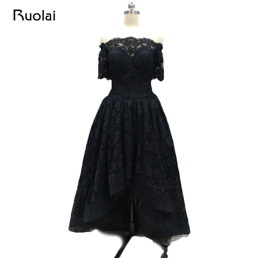 1a374e37b2cb Real 2019 Sexy Off the Shoulder Black Evening Dresses Lace Beaded High Low  Prom Dresses Asymmetrical Dress Robe de Soiree PD33