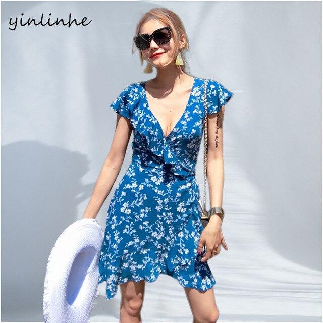 yinlinhe Green Floral Wrap Dress Women V neck Sexy Beach Summer Dress Short Sleeve Sash Slim Waist Elegant Ruffles Vestidos  316