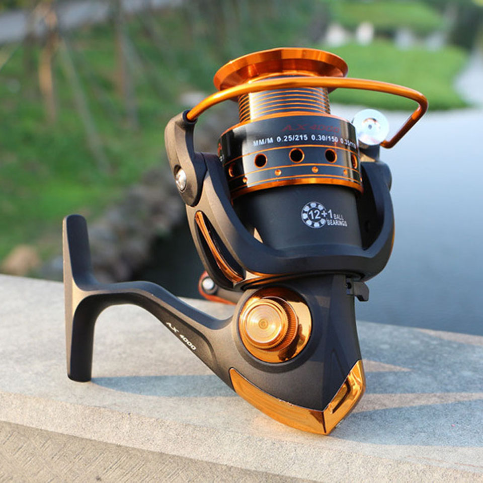 Spinning Fishing Reel 12BB + 1 Bearing Balls 500-9000 Series Metal Coil Spinning Reel Boat Rock Fishing Wheel 2