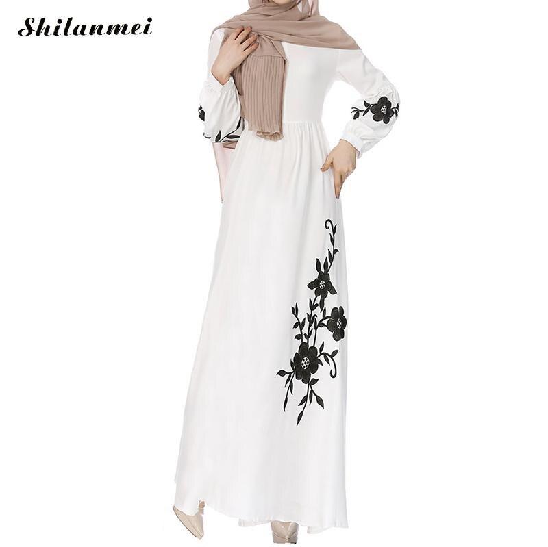 887ac4146e0 2018 Muslim Abaya Dress Women Flower Print Long Sleeve Islamic Long Robes  Black White Turkey Instant