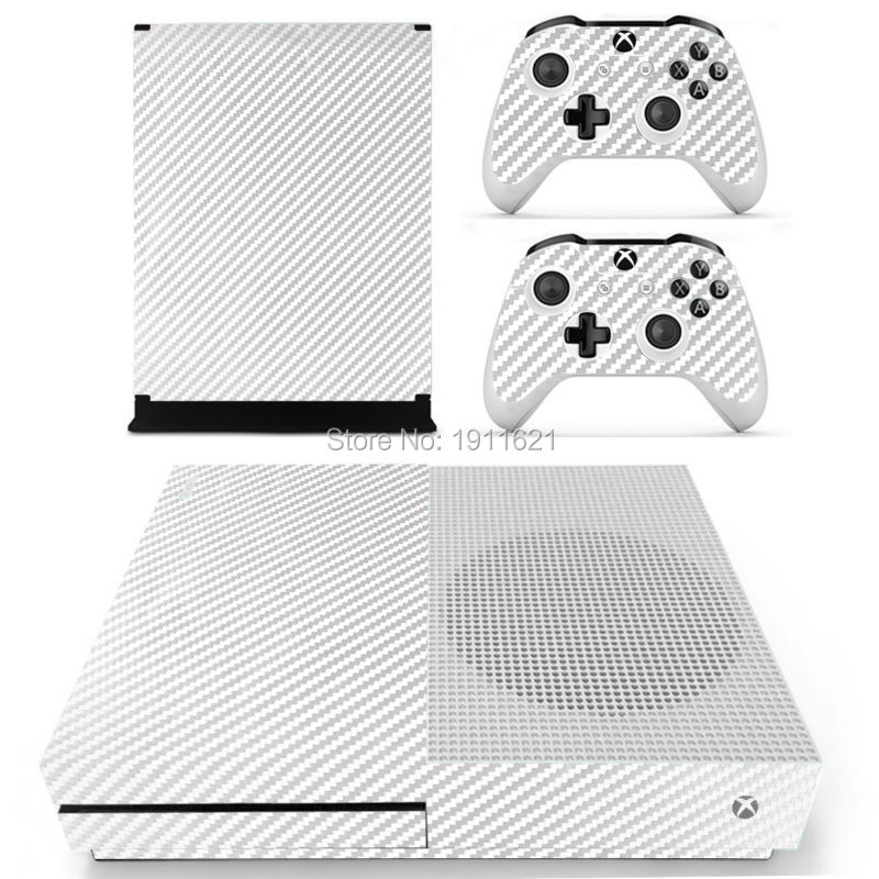 Carbon Fiber Pure White For Xbox One Slim Skin Sticker For Xbox One S Console 2 Controller Skins Recommend