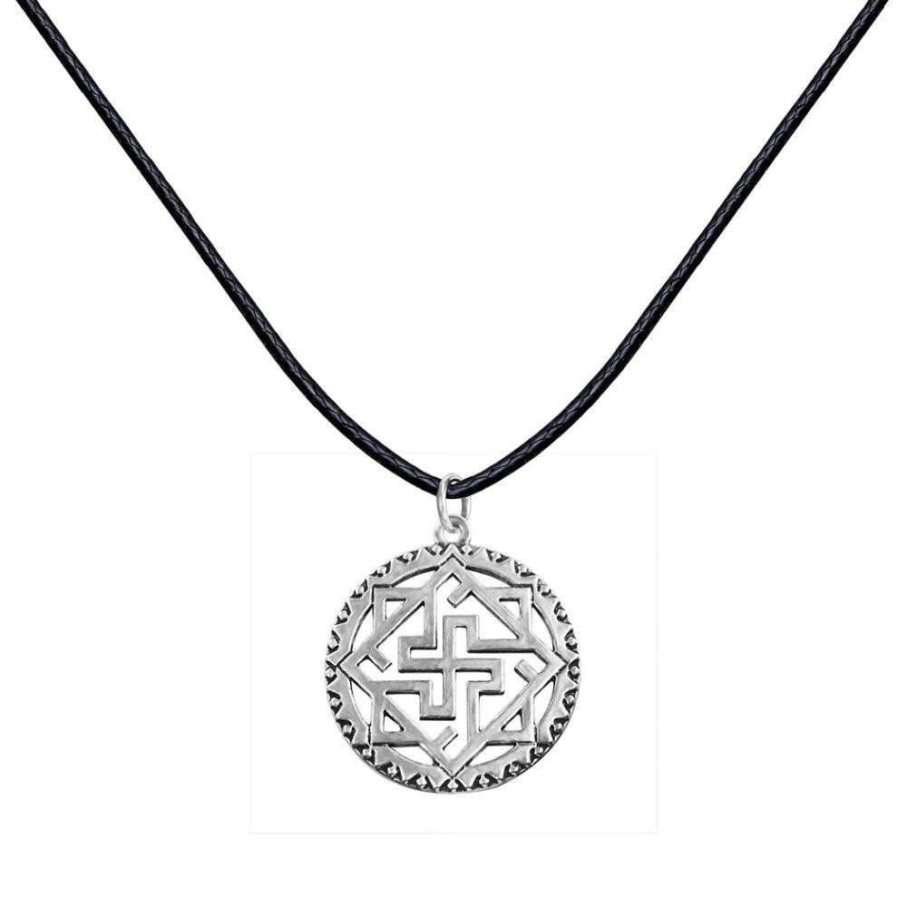 QIAMNI Punk Unique Viking Odin Thor Runes Warrior Valkyrie Slavic Pendant Necklace Christmas Jewelry Gift for Men Women