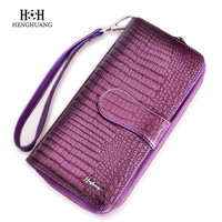 HH Alligator Genuine Leather Women Wallets Luxury Brand 2017 New Design High Quality Fashion Girls Purse