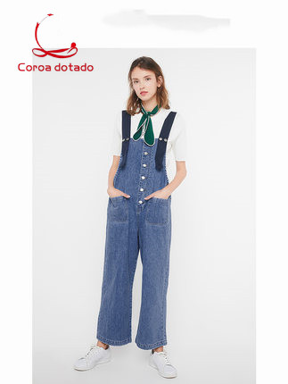 Spring new style retro single-breasted wide-leg jumpsuit with age-reducing overalls denim trousers overalls women Price $44.90