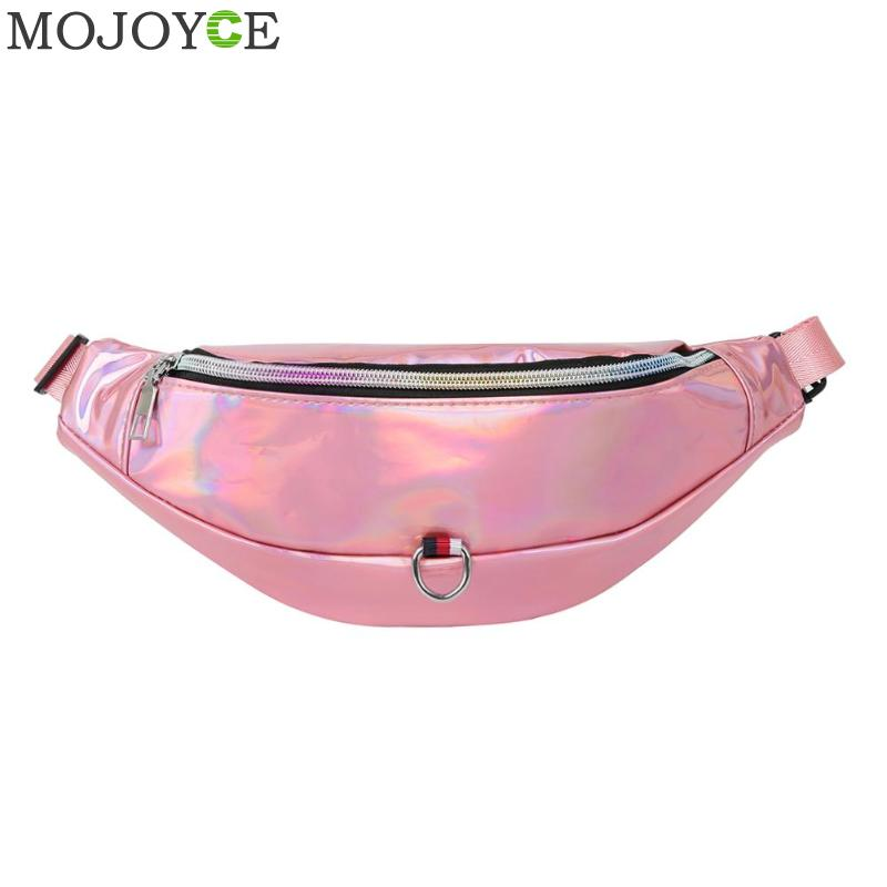 Holographic Fanny Pack Women Pink Silver Waist Bag Female Belt Bag Casual Shoulder Waist Chest Bags Waist Packs Laser Chest