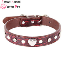 Luxury Rhinestone Dog Collar PU Leather Adjustable Dog Strap for Small Medium Dog Heart-shaped accessories cat Collars XS/S/M/L donna l patten sarah s heart