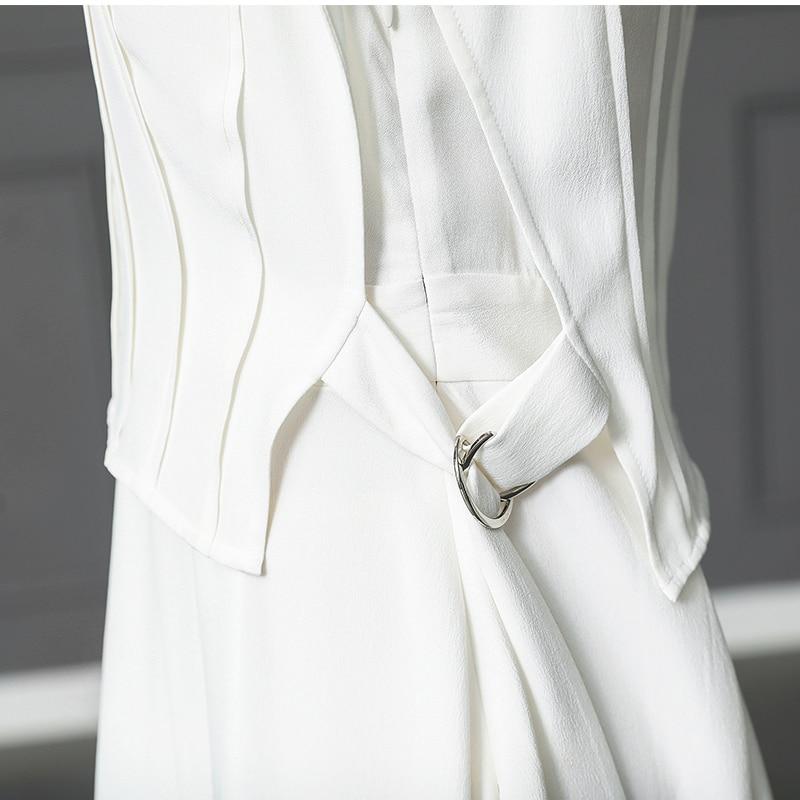Soie Solide Ceinture Grande De Femmes Trapèze Slim Voa Blanc Manches Deux Sans Conduites Ensemble Carburant Bureau Robe Lourde Faux 5xl Haute A157 Taille dEXnTwq