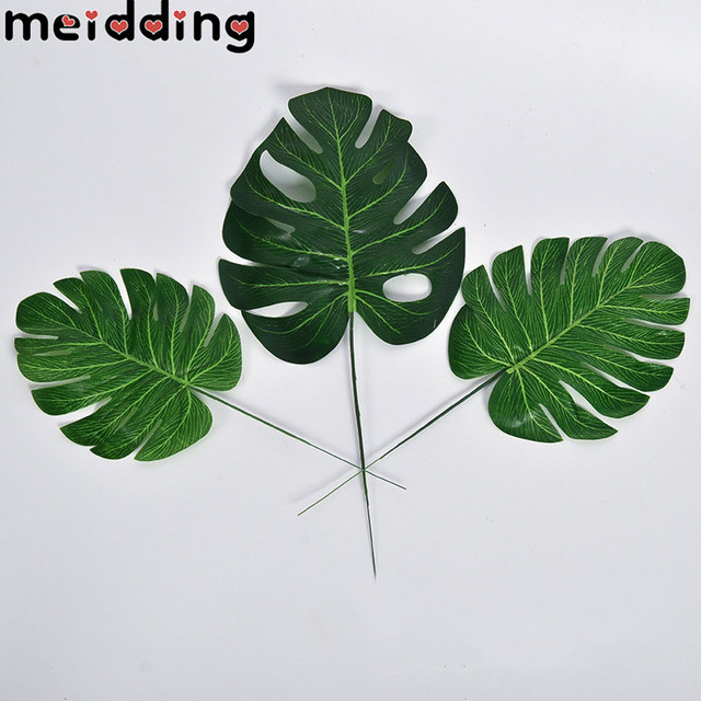 Meidding Wedding Table Decor Artificial Tropical Palm Leaves Hawaii