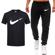 New Summer T-Shirt Mens suits Lastest 2019 Fashion Short Sleeve set Funny Tee Shirts Hipster O-Neck Cool Tops+Pants