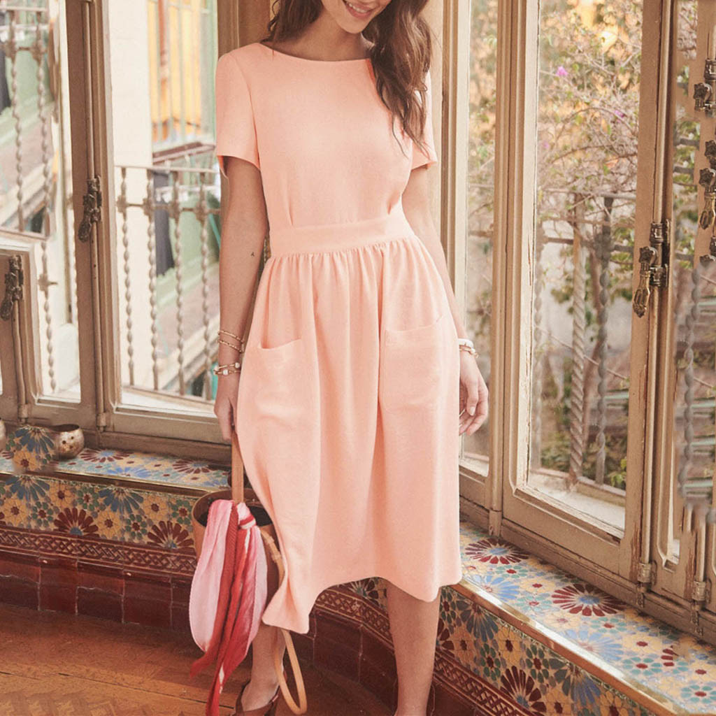 Women's Black pink Dresses Fashion Summer Open back Hollow elegant Casual Sexy Backless Button Solid Dress 2020 #G3