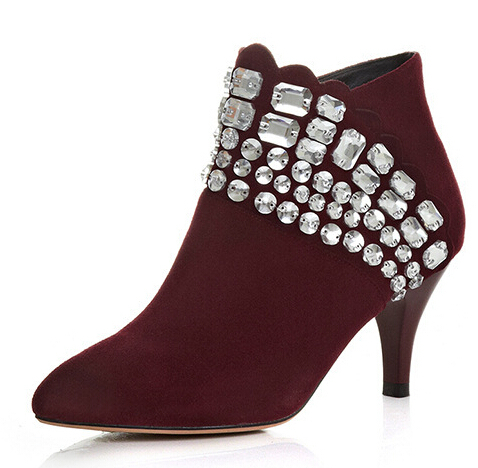 Women Thin High Heel Genuine Leather Crystal Side Zipper Pointed Toe Autumn Winter Fashion Ankle Boots Size 34-39 SXQ0811 fashion rivet thin high heel genuine leather ankle boots women side zipper pointed toe winter shoes black wine red