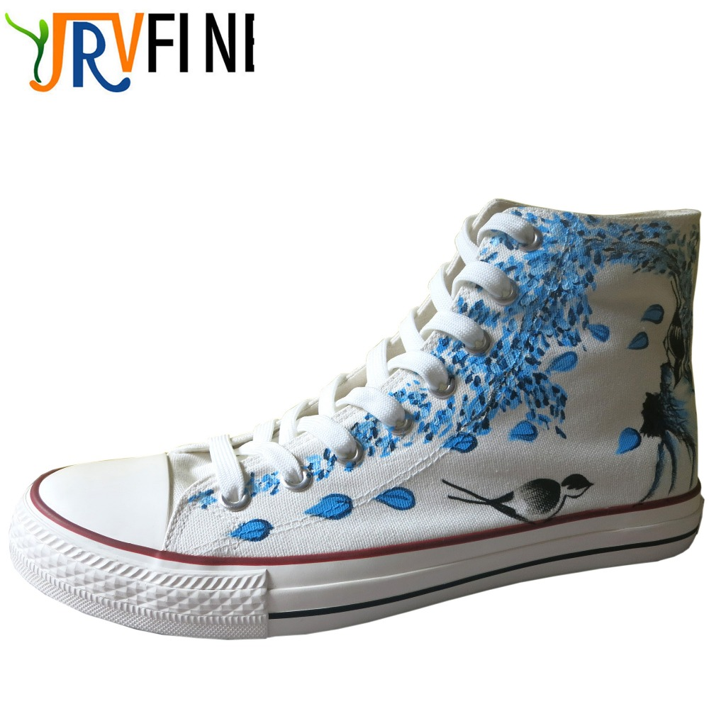 YJRVFINE Classic Hand Painted Plum& lotus& Sunflower Shoes Woman Outdoor Walking High Top Canvas Shoes Girls Graffiti Shoes e lov personality luminous casual walking shoes hand painted graffiti aries constellation canvas flats shoes for women