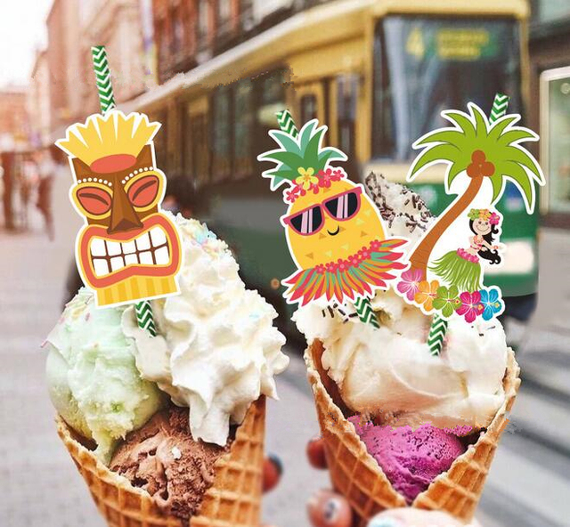 36 Stks Aloha Gunst Ananas Coco Papier Rietjes Hawaii Luau Party