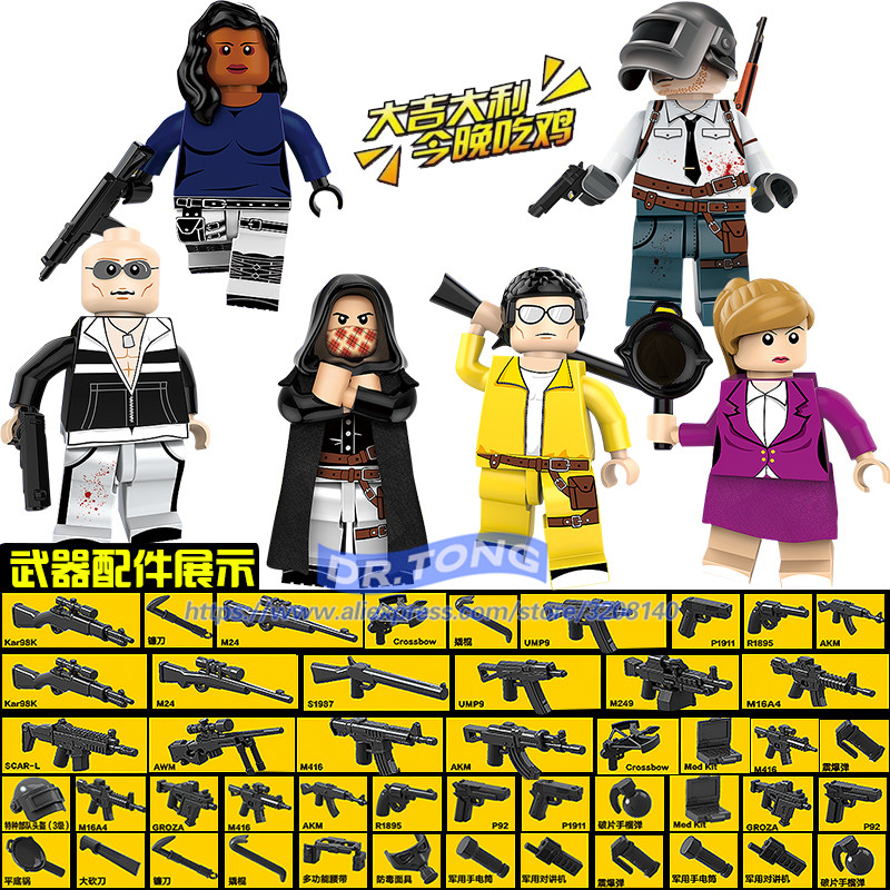 8PCS/LOT NEW PUBG FPS Game MILITARY Figures Winner Winner Chicken Dinner Soldier Army Building Blocks Educational Toys