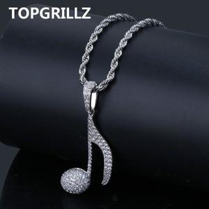 Image 1 - TOPGRILLZ Hip Hop Muzieknoot Hanger Ketting Koper Goud Zilver Kleur Kubieke Zirkoon Bling Mannen Vrouwen Sieraden Geschenken Touw Ketting