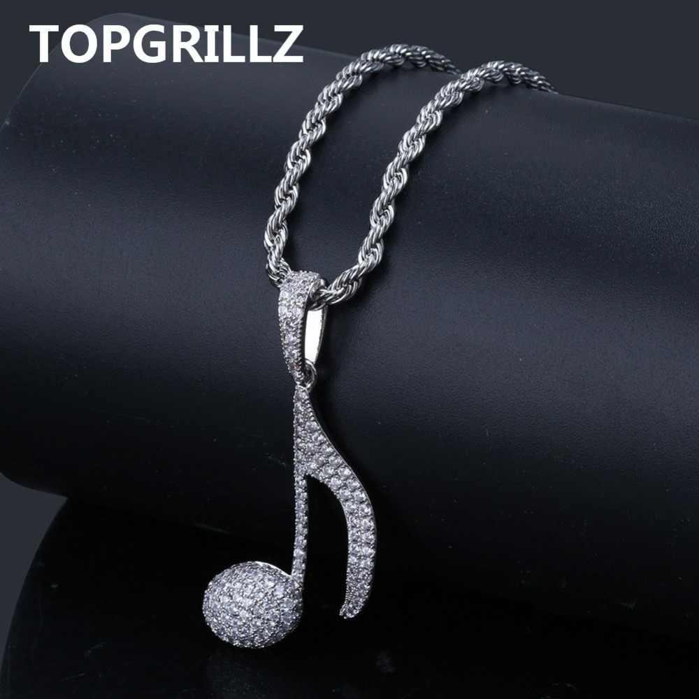 TOPGRILLZ Hip Hop nuta naszyjnik miedziane złote srebro kolor Cubic cyrkon Bling mężczyźni kobiety biżuteria prezenty Rope Chain