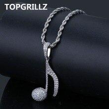 TOPGRILLZ collar con pendiente de nota Musical estilo Hip Hop para hombre y mujer, cadena de cuerda de cobre, dorado y plateado, con circonita cúbica ostentosa