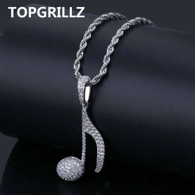 TOPGRILLZ ヒップホップ音符ペンダントネックレス銅金銀色立方男性女性ジュエリーギフトロープチェーン