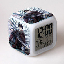 Shingeki no Kyojin Attack On Titan Levi Rivaille seven Color Change Glowing Digital Alarm Clock цена в Москве и Питере