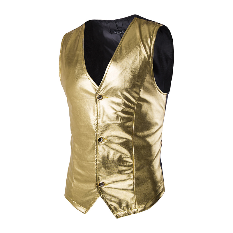 Vest Men Coated Wedding-Host Gold Single-Breasted Metallic Stage Night-Club Shiny Brand-New