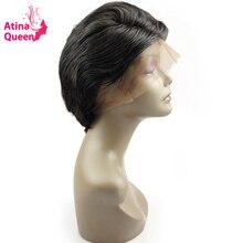Atina Queen Short Cut Glueless Full Lace Human Hair font b Wigs b font for Black