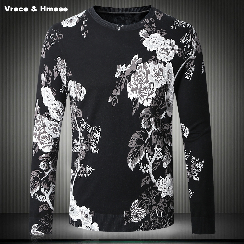 Chinese Style 3D Floral Pattern Exquisite Printing Fashion Sweater Autumn&Winter 2017 New Quality Cotton Thin Sweater Men M-4XL