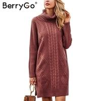 BerryGo High Neck Split Long Sleeve Jumper Autumn Winter Knitting Soft Sweater Women Pullover 2017 Pull