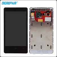 For Nokia Lumia 800 LCD Touch Display Screen With Digitizer Assembly Bezel Frame Replacement Parts Free