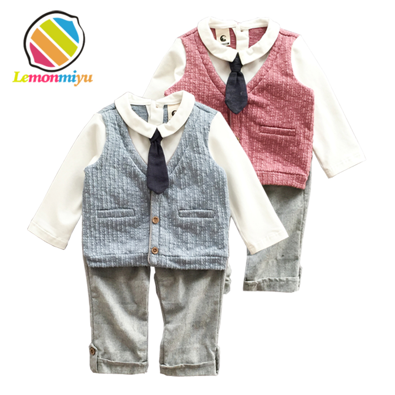 Lemonmiyu 3pcs Formal Baby Sets Infants Cotton Full Solid Boy Suits Sweatshirts And Long Pants Vest Sets Newborns Spring Outfits