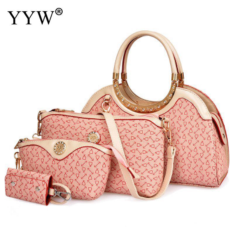 4 PCS/Set PU Leather Handbags Women Bag Set Famous Brands Top-Handle Bag Lady's Shoulder Crossbody Bags Clutch Bag Womens'Pouch все цены