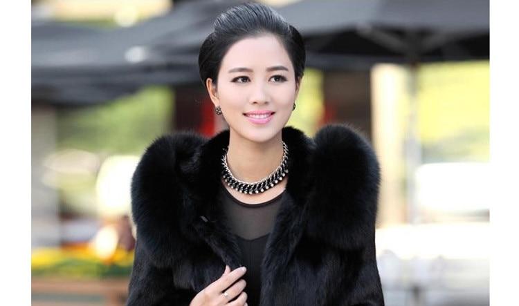 Manteau en fausse fourrure pour femme hiver chaud noir Imitation fourrure de renard Long col rond chapeau tempérament jeune femme 2019 nouveau - 6
