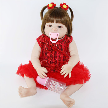 Straight hair full silicone real Body girl reborn baby doll Toys realistic newborn princess babies cute Dolls baby toy bonecas