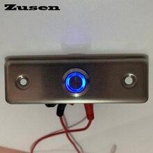 Zusen yeni! 16mm mukavemetli kapı zili basmalı düğme anahtarı halka ile mavi LED ışık kapı ışık anahtarı