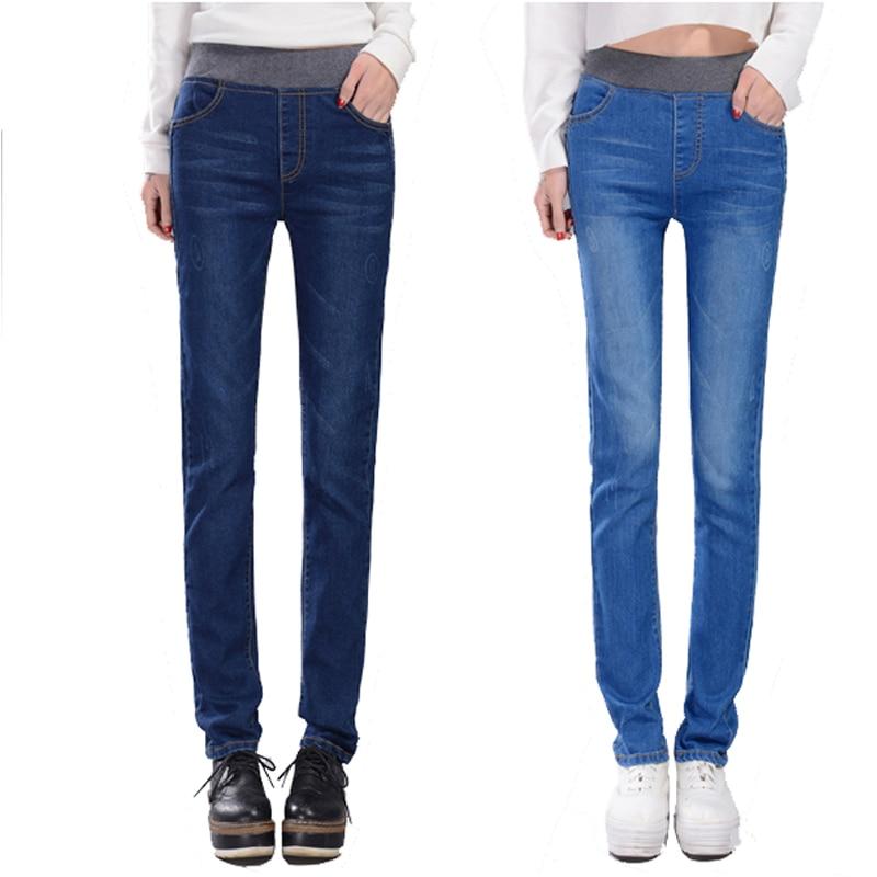ФОТО Autumn skinny jeans woman Plus size high waist elastic slim denim long women trousers femme vaqueros mujer high quality 2016 new