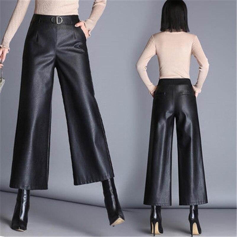 Pu pantalons à jambes larges capri femmes 2019 hiver automne taille haute pantalons en cuir droit femme pantalon grande taille femme WF65