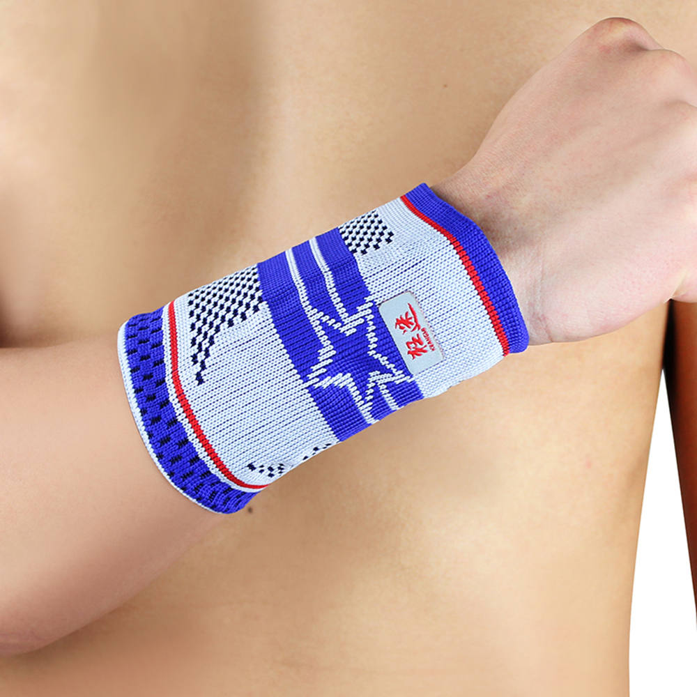 2 Pcs Kuangmi Five Star Sport Sweatband Guard Elastic Breathable Wrist Support Basketball Tennis Weight lifting Wrist Protector in Wrist Support from Sports Entertainment