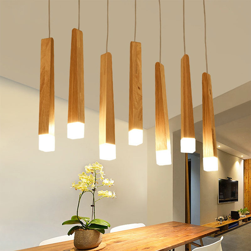 Simple Style Bar Wood Designer Creative Personality Restaurant Coffee Shop Living Room Lamp Simple Solid Wood Led Pendant Light