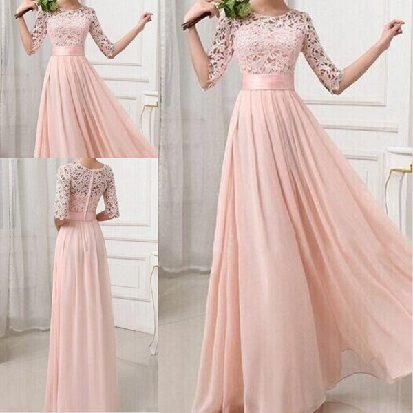Pink Plus Size   Bridesmaid     Dresses   Sash Lace Half Sleeves Paste Chiffonl Floor Length Honor of Maid   Dresses   Prom   Dress   Gowns 2018